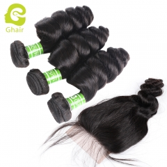 GHAIR 100% virgin human hair single loose wave 3 bundles with closure 1B# natural black color