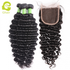 GHAIR Deep wave 100% virgin human hair 3 bundles with 4x4 lace closure pre-plucked