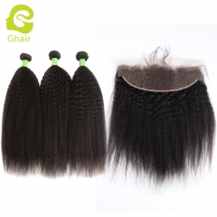 GHAIR 100% virgin human hair kinky straight 1B# 13*4  frontal and 3bundles for black women