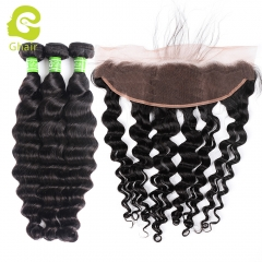GHAIR Loose deep 100% virgin human hair 3 bundles with 13x4 lace frontal pre-plucked