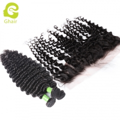 GHAIR Brazilian virgin human hair deep wave 1B# 13*4  frontal and 3bundles for black women