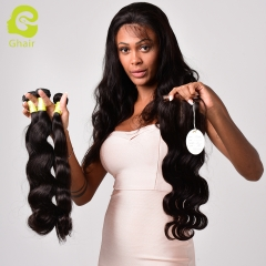 GHAIR Brazilian virgin human hair body wave 3 bundles with closure 1B# natural black color