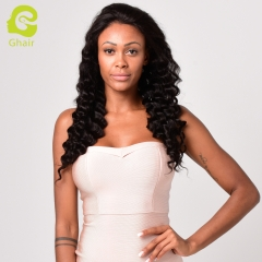 GHAIR Brazilian virgin human hair full lace wig loose deep wave 1B# wig with baby hair glueless for black women
