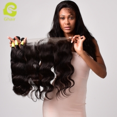 GHAIR Brazilian virgin human hair body wave 1B# 13*4  frontal and 3bundles for black women