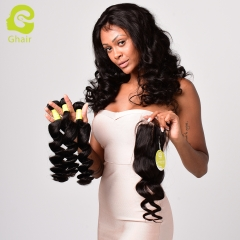 GHAIR Brazilian virgin human hair single loose wave 3 bundles with closure 1B# natural black color