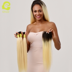GHAIR Brazilian virgin human hair straight 3 bundles with closure 1B/613# blonde color