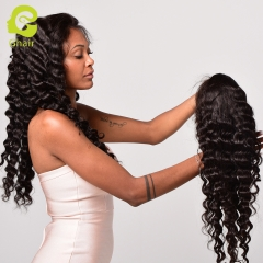 GHAIR Brazilian virgin human hair lace front wig loose deep wave 1B# wig with baby hair glueless for black women