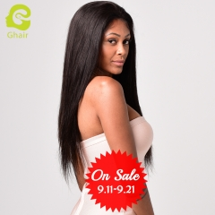 GHAIR Brazilian virgin human hair full lace wig straight 1B# wig with baby hair glueless for black women