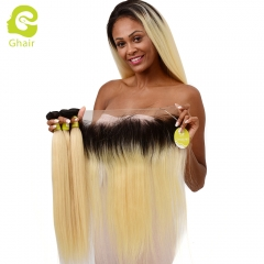 GHAIR Brazilian virgin human hair straight 1B#613 13*4  frontal and 3bundles gloden blonde