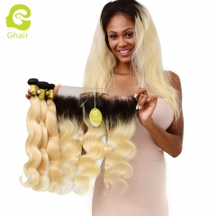 GHAIR Brazilian virgin human hair body wave 1B#613 13*4  frontal and 3bundles gloden blonde