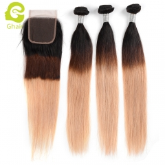 GHAIR Brazilian virgin human hair straight 3 bundles with closure 1B/4/27# color
