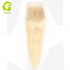 GHAIR 100% Virgin human hair straight 613# blonde 4*4 lace closure with baby hair