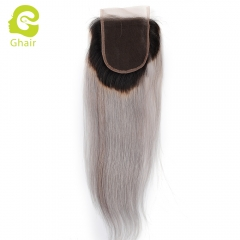 GHAIR 100% Virgin human hair straight 1B/grey# 4*4 lace closure with baby hair