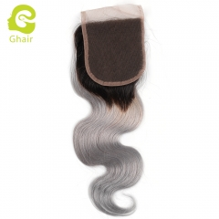 GHAIR 100% Virgin human hair body wave 1B/grey# 4*4 lace closure with baby hair