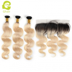GHAIR 100% virgin human hair body wave 1B#613 13*4  frontal and 3bundles golden blonde