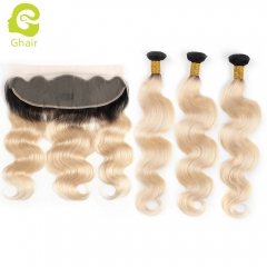 GHAIR 100% virgin human hair body wave 1B#613 13*4  frontal and 3bundles gloden blonde