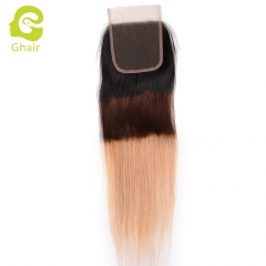 GHAIR Brazilian Virgin human hair straight 1B/4/27# 4*4 lace closure with baby hair