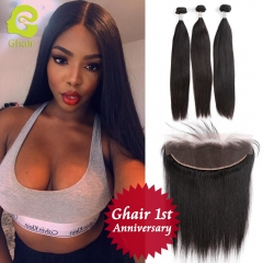 GHAIR 1st Anniversary | Straight brazilian virgin hair 3 bundles with 13x4 lace frontal pre-plucked