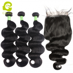 GHAIR 3 Bundles with 7*7 lace closure pre-plucked body wave virgin human hair