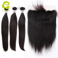 GHAIR 3 Bundles with 13*6 lace frontal pre-plucked straight wave virgin human hair