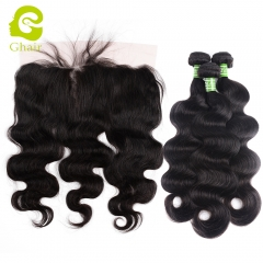 GHAIR 3 Bundles with 13*6 lace frontal pre-plucked body wave virgin human hair
