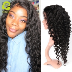 GHAIR Full lace wig pre-plucked loose deep virgin human hair glueless adjustable elastic band wig with baby hair