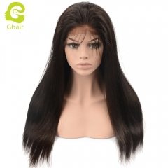 GHAIR Full lace wig pre-plucked straight virgin human hair glueless adjustable elastic band wig with baby hair