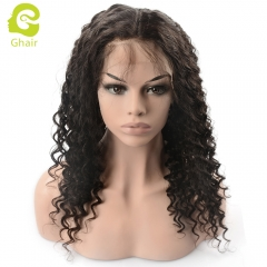 GHAIR Full lace wig pre-plucked deep wave virgin human hair glueless adjustable elastic band wig with baby hair