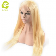 GHAIR pre-plucked full lace wig straight 613# virgin human hair glueless adjustable elastic band wig with baby hair