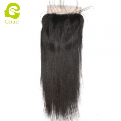 GHAIR 100% Virgin human hair straight 1B# 7*7 lace closure with baby hair
