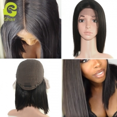GHAIR short bob style lace front wig 150% density virgin human hair glueless adjustable elastic band wig with baby hair
