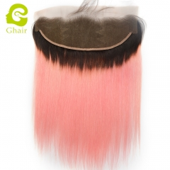 GHAIR 100% virgin human hair straight 1B/Pink# 13*4 lace frontal
