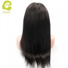 GHAIR pre-plucked 360 lace frontal wig straight virgin human hair glueless adjustable elastic band wig with baby hair