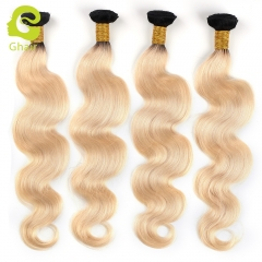 GHAIR Brazilian 4 bundles virgin human hair weave body wave bundle 1b/613# blonde color Shedding free
