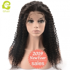 GHAIR pre-plucked lace front wig kinky curly glueless virgin human hair adjustable elastic band wig with baby hair