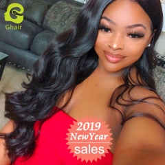 GHAIR Body wave 100% virgin human hair 3 bundles with 4x4 lace closure pre-plucked