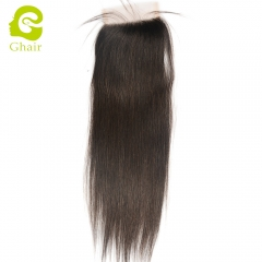 GHAIR 100% Virgin human hair  straight 1B# 4*4 transparent lace closure with baby hair
