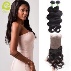 GHAIR 100% virgin human hair body wave 1b# 360 frontal and 2bundles