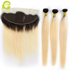 GHAIR 100% virgin human hair straight 1B#613 13*4  frontal and 3bundles golden blonde
