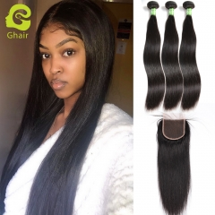 GHAIR Straight 100% virgin human hair 3 bundles with 4x4 lace closure pre-plucked