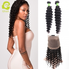 GHAIR 100% virgin human hair deep wave 1b# 360 frontal and 2bundles