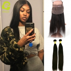 GHAIR 100% virgin human hair straight 1b# 360 frontal with 2bundles