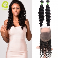 GHAIR 100% virgin human hair loose deep wave 1b# 360 frontal and 2bundles