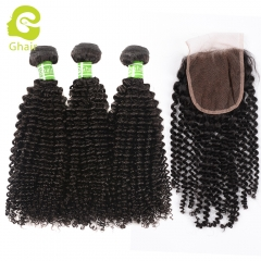 GHAIR 100% virgin human hair kinky curly 3 bundles with closure 1B# natural black color