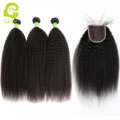 GHAIR 100% virgin human hair kinky straight 3 bundles with closure 1B# natural black color
