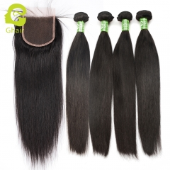 GHAIR 100% virgin human hair straight wave 4 bundles with closure 1B# natural black color