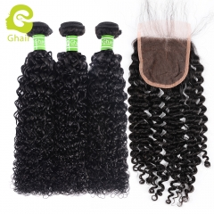 GHAIR 100% virgin human hair deep curly 3 bundles with closure 1B# natural black color