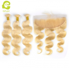 GHAIR 100% virgin human hair body wave 613# 13*4  frontal and 3bundles gloden blonde