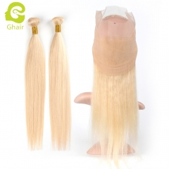 GHAIR 100% virgin human hair straight 613# blonde 360 frontal and 2bundles