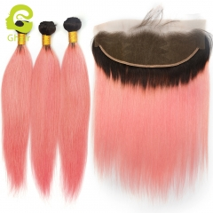 GHAIR 100% virgin human hair straight 1B/Pink# 13*4  frontal and 3bundles pink color